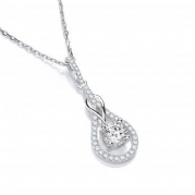 "J-Jaz Micro Pave' Tear Drop Cz Pendant with 18"" Chain"